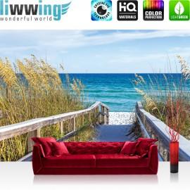 "Vlies Fototapete ""no. 2284"" | Landschaft Tapete Meer Himmel Strand Horizont Geländer blau | liwwing (R)"