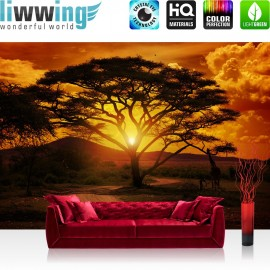 "Vlies Fototapete ""African Sunset"" | Sonnenuntergang Tapete Sonnenaufgang Arfika Steppe Giraffe Organge Safari orange"