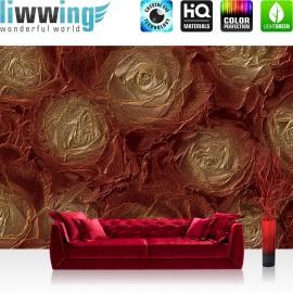"Vlies Fototapete ""no. 2287"" | Texturen Tapete Blumen Blüten Rosen Metalloptik ocker | liwwing (R)"