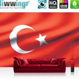 "Vlies Fototapete ""no. 2310"" | Geographie Tapete Flagge Fahne Türkei Mond Stern rot | liwwing (R)"