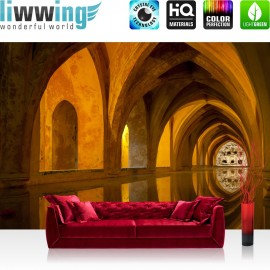 PREMIUM Fototapete - no. 63 | Bath of Alcazar | Arkaden 3D Perspektive Gewölbe Bad Wasser Reflexion