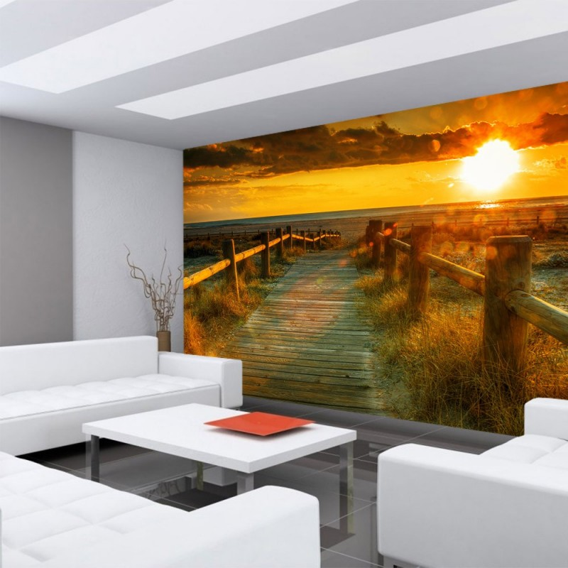 vlies fototapete sunset beach strand tapete. Black Bedroom Furniture Sets. Home Design Ideas