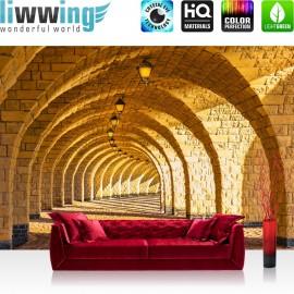 PREMIUM Fototapete - no. 66 | Arched Stone Colonnades | Arkaden 3D Gewölbe Säulen Sandstein Steinwand