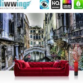 "Vlies Fototapete ""no. 2374"" | Venedig Tapete Wasser Wasserstraße Gondel Balkon Brücke Häuser grau | liwwing (R)"