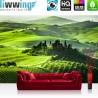 "Vlies Fototapete ""Sunrise in Tuscany"" | Landschaft Tapete Sonnenaufgang Italien Toskana Weinberg Weingut grün"