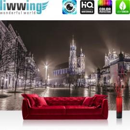 "Vlies Fototapete ""no. 2388"" | Stadt Tapete Nacht Lichter Kirche Winter Regen Promenade grau | liwwing (R)"