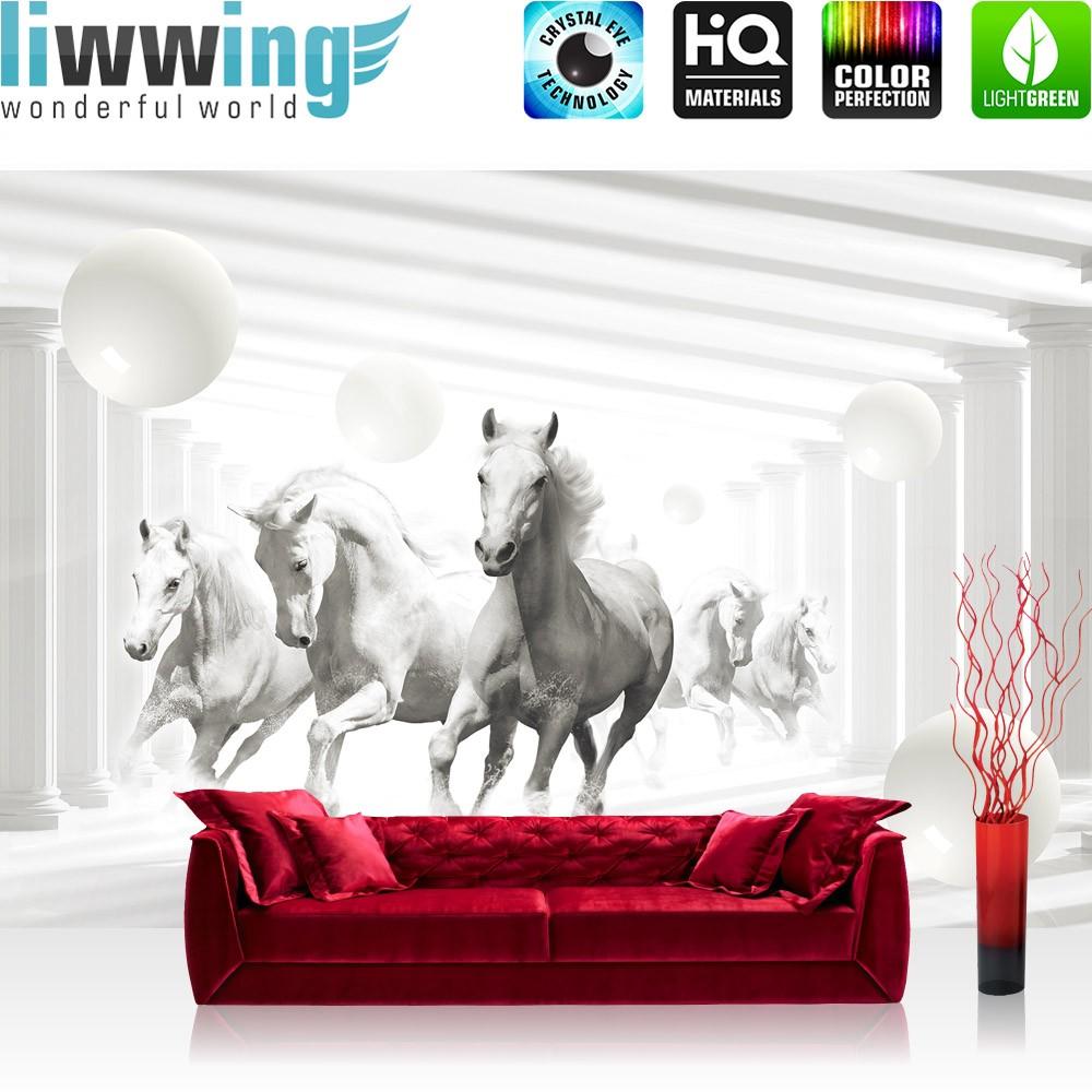 Vlies Fototapete no. 2408 | Vliestapete liwwing (R) Tiere Tapete Pferde  Tiere Fell Säulen Kugeln Schatten weiß