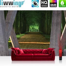 "Vlies Fototapete ""no. 2432"" | Architektur Tapete Terrasse Balkon Wald Bäume Weg Allee grau | liwwing (R)"