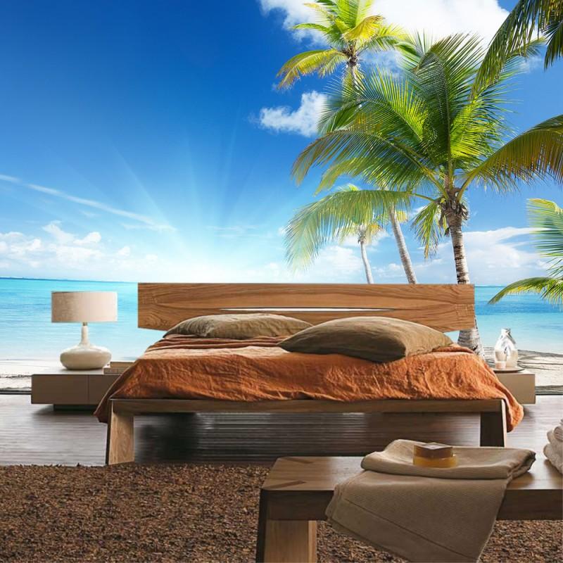 vlies fototapete no 2444 vliestapete liwwing r strand tapete palme meer wolken sonne. Black Bedroom Furniture Sets. Home Design Ideas