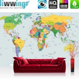 "Vlies Fototapete ""no. 2474"" | Welt Tapete Weltkarte Weltatlas Weltmeere Geografie grau | liwwing (R)"