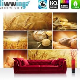 "Vlies Fototapete ""no. 2496"" | Kulinarisches Tapete Brot Weizen Getreide Natur Brötchen ocker | liwwing (R)"