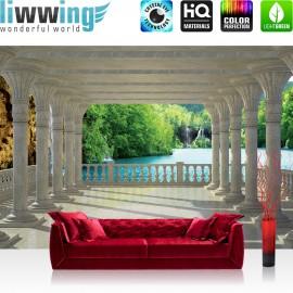"Vlies Fototapete ""no. 2503"" | Architektur Tapete Terrasse Balkon Wasserfall See Klippen Felsen Bäume weiß | liwwing (R)"