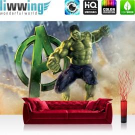 "Vlies Fototapete ""no. 2541"" | Cartoon Tapete Marvel AVENGERS Hulk Monster Sand grün | liwwing (R)"