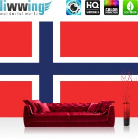 "Vlies Fototapete ""no. 2569"" | Geographie Tapete Norwegen Flagge Skandinavien rot | liwwing (R)"