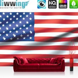 "Vlies Fototapete ""no. 2570"" | Geographie Tapete USA Amerika Flagge Streifen Sterne rot | liwwing (R)"