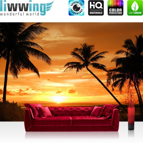 "Vlies Fototapete ""no. 2590"" | Sonnenuntergang Tapete Palmen Strand Meer Horizont orange | liwwing (R)"