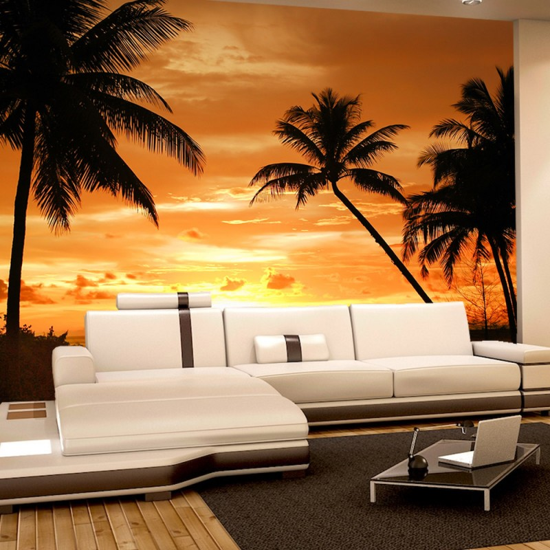 vlies fototapete no 2590 vliestapete liwwing r sonnenuntergang tapete palmen strand meer. Black Bedroom Furniture Sets. Home Design Ideas