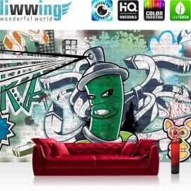 "Vlies Fototapete ""no. 2621"" | Graffiti Tapete Steinwand Steinoptik Graffiti Malerei grün | liwwing (R)"