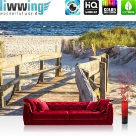 "Vlies Fototapete ""no. 2643"" | Landschaft Tapete Strand Meer Holz Treppe Wasser blau | liwwing (R)"