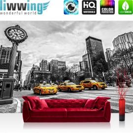 """Vlies Fototapete """"no. 2661""""   New York Tapete Stadt Taxis Uhr New York schwarz - weiß   liwwing (R)"""