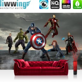 "Vlies Fototapete ""no. 2679"" | Cartoon Tapete Marvel AVENGERS Hulk Iron Man Captain America Black Widow grau | liwwing (R)"