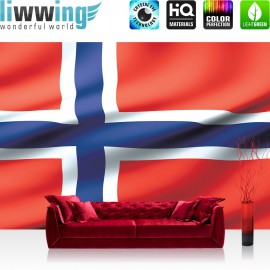 "Vlies Fototapete ""no. 2704"" | Geographie Tapete Norwegen Flagge Skandinavien rot | liwwing (R)"