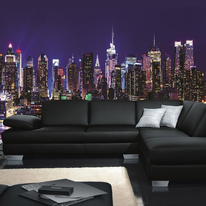 vlies fototapete no 2771 vliestapete liwwing r new york tapete manhattan skyline nacht bunt. Black Bedroom Furniture Sets. Home Design Ideas