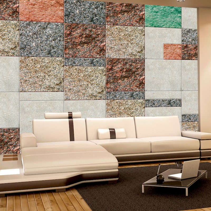 vlies fototapete no 2795 vliestapete liwwing r steinwand tapete mosaik steine kunst bunt. Black Bedroom Furniture Sets. Home Design Ideas