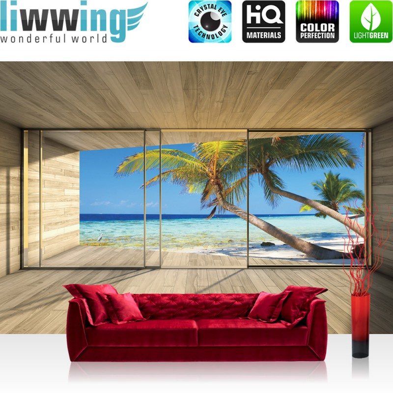 vlies fototapete no 2800 vliestapete liwwing r meer tapete strand meer palmen wasser raum. Black Bedroom Furniture Sets. Home Design Ideas