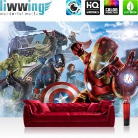 "Vlies Fototapete ""no. 2803"" | Cartoon Tapete Marvel AVENGERS Thor Captain America Black Widow Hawkeye Falcon blau | liwwing (R)"