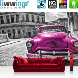 "Vlies Fototapete ""no. 2888"" | Autos Tapete Oldtimer Auto Kuba Havanna Ölfarbe schwarz - weiß | liwwing (R)"