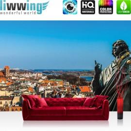 "Vlies Fototapete ""no. 2895"" | Stadt Tapete Statue Himmel blau | liwwing (R)"