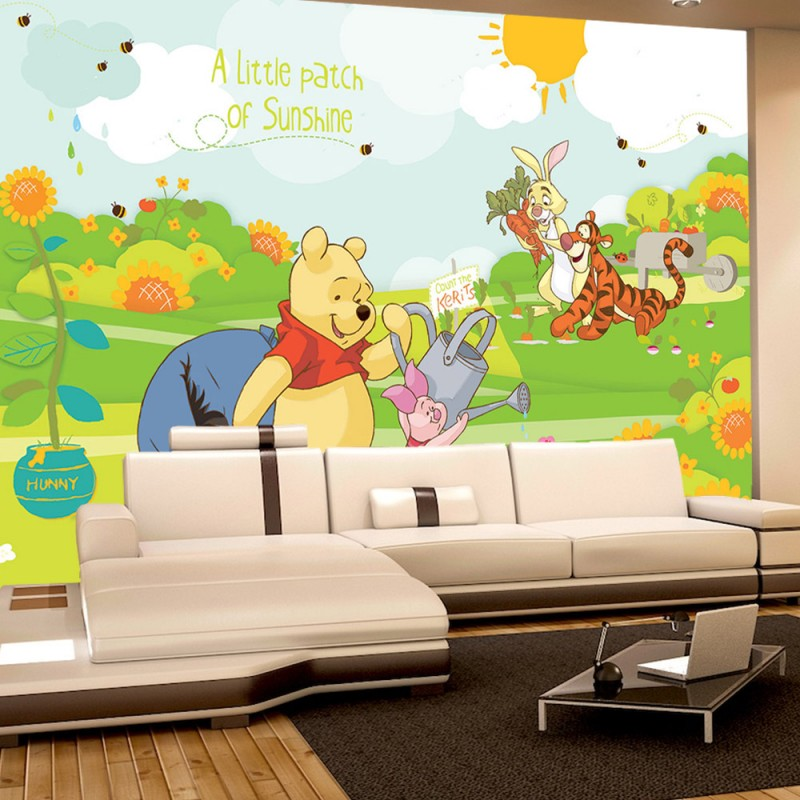 vlies fototapete no 2116 cartoon tapete disney winnie puuh ferkel tiger iaah rabbit sonne. Black Bedroom Furniture Sets. Home Design Ideas