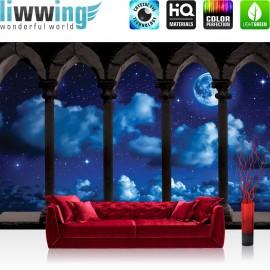 "Vlies Fototapete ""no. 2917"" | Sternenhimmel Tapete Mond Wolken Nachthimmel Balkon Steine Säule blau | liwwing (R)"
