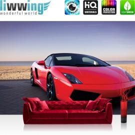 "Vlies Fototapete ""no. 2919"" | Autos Tapete Auto Sportwagen Strand Meer Himmel rot | liwwing (R)"