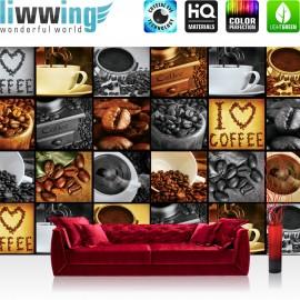 "Vlies Fototapete ""no. 2920"" | Kaffee Tapete Coffee Kaffeebohnen Bohnen Herz Tasse braun | liwwing (R)"