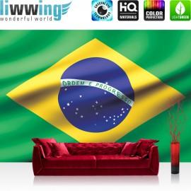"Vlies Fototapete ""no. 2935"" | Geographie Tapete Flagge Fahne Brasilien Land Welt grün | liwwing (R)"