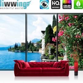 "Vlies Fototapete ""no. 3050"" | Italien Tapete Gadarsee Wasser Italien Blumen Blüten bunt | liwwing (R)"