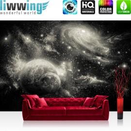 "Vlies Fototapete ""no. 2962"" | Welt Tapete Weltraum Weltall Planeten Galaxie Sterne anthrazit | liwwing (R)"