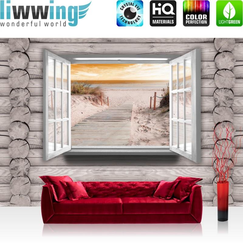 vlies fototapete no 3010 holz tapete holzoptik fenster strand meer sonnenun ebay. Black Bedroom Furniture Sets. Home Design Ideas