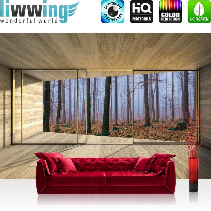 Fototapete fenster wald  Vlies Fototapete no. 3029   Vliestapete liwwing (R) Holz Tapete ...