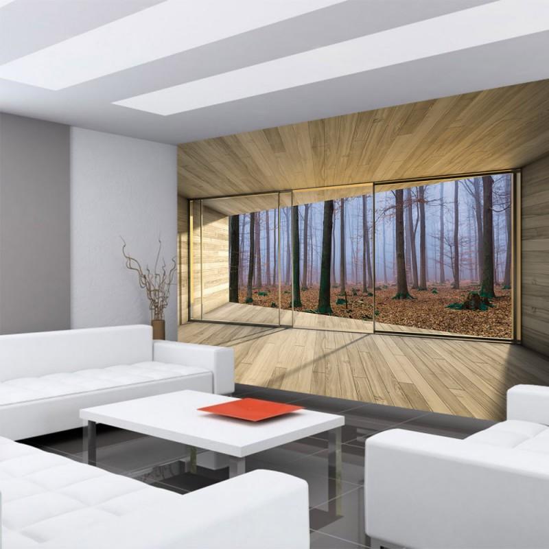 Fototapete blick aus dem fenster wald for Holz tapete schlafzimmer