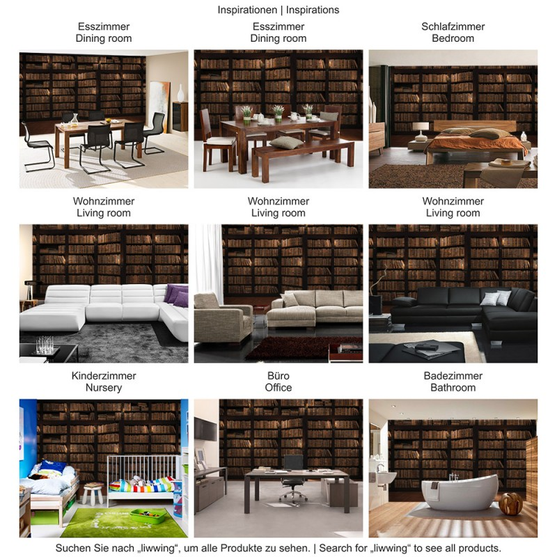 vlies fototapete no 3042 holz tapete laminat b cher regal schrank t r kache ebay. Black Bedroom Furniture Sets. Home Design Ideas