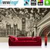 """Vlies Fototapete """"no. 3061""""   London Tapete Big Ben Brücke Wasser Himmel Vintage grau   liwwing (R)"""