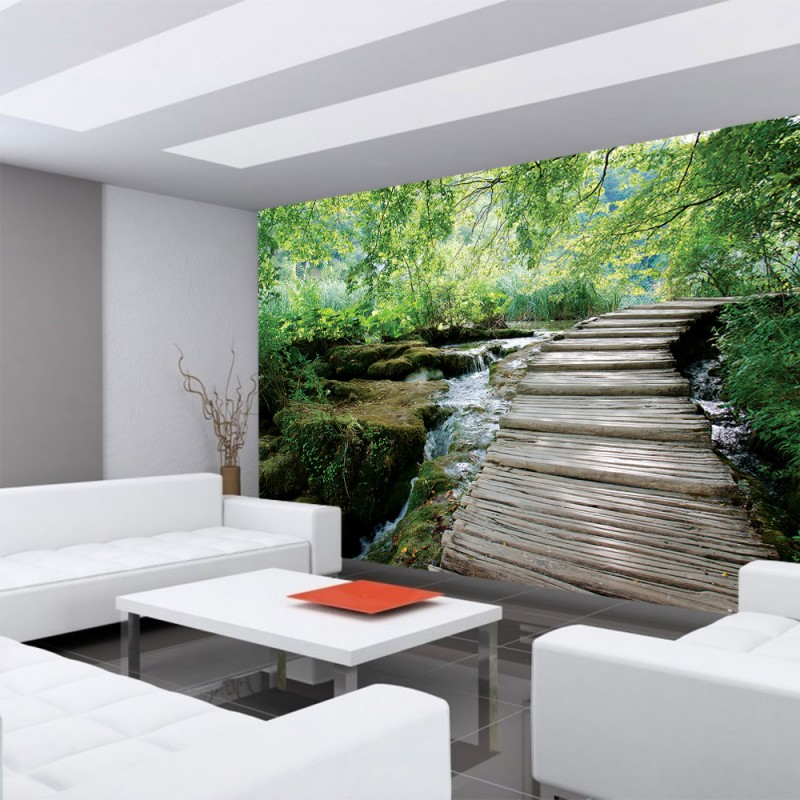 vlies fototapete no 3065 vliestapete liwwing r landschaft tapete wald b ume wasser bach. Black Bedroom Furniture Sets. Home Design Ideas