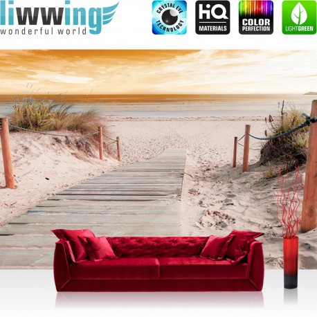 "Vlies Fototapete ""no. 3070"" | Sonnenaufgang Tapete Strand Meer Horizont Sonnenaufang Himmel beige | liwwing (R)"