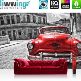 "Vlies Fototapete ""no. 3130"" | Autos Tapete Auto Vintage Gebäude rot | liwwing (R)"