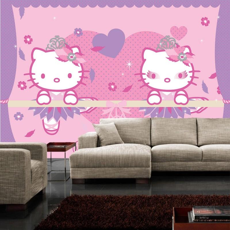 vlies fototapete no 3153 m dchen tapete sanrio hello kitty katze cartoon illustration. Black Bedroom Furniture Sets. Home Design Ideas
