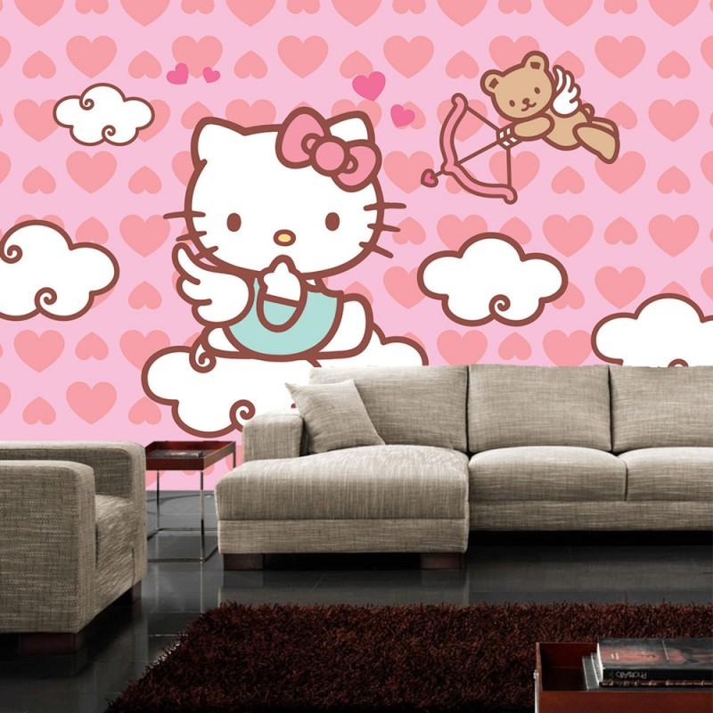 vlies fototapete no 515 m dchen tapete sanrio hello kitty kindertapete cartoon katze wolke. Black Bedroom Furniture Sets. Home Design Ideas