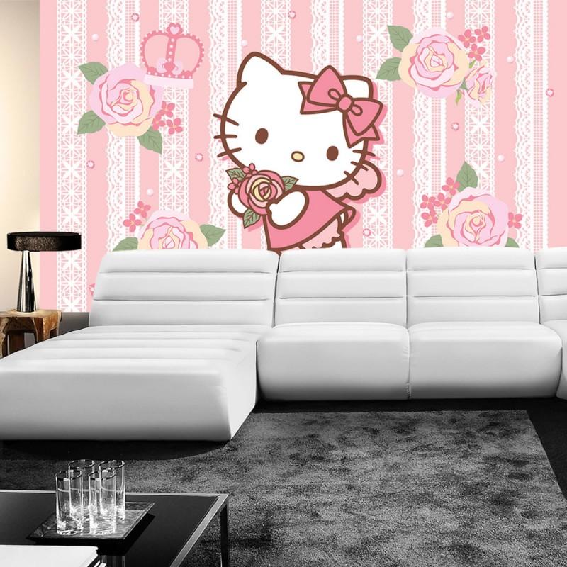 vlies fototapete no 518 m dchen tapete sanrio hello kitty kindertapete cartoon katze rosen. Black Bedroom Furniture Sets. Home Design Ideas